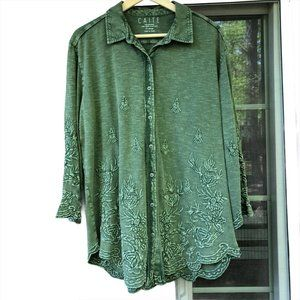 nwt Caite Envy Green Embroidered Top Button Front